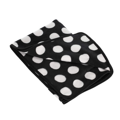 OBABY DOTTY FLEECE PRAM BLANKET - BLACK & WHITE