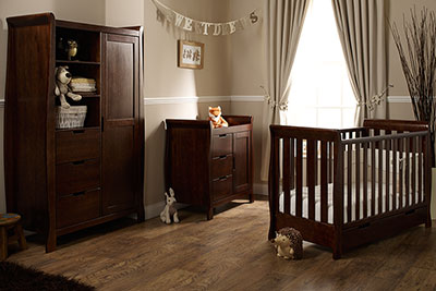 LINCOLN MINI COT BED 3 PIECE ROOM SET - WALNUT