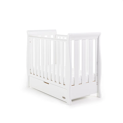STAMFORD SPACE SAVER SLEIGH COT - WHITE