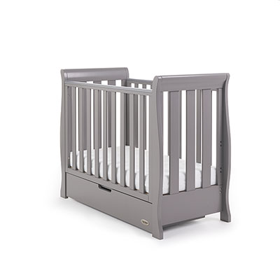 STAMFORD SPACE SAVER SLEIGH COT - TAUPE GREY