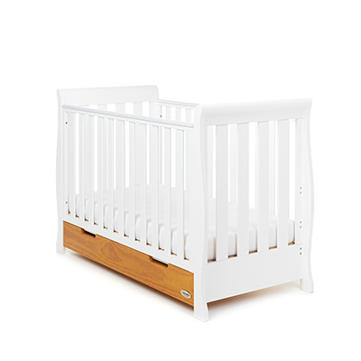 STAMFORD MINI SLEIGH COT BED - WHITE with COUNTRY PINE