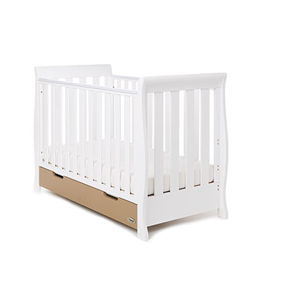 STAMFORD MINI SLEIGH COT BED - WHITE with ICED COFFEE