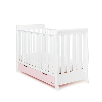 STAMFORD MINI SLEIGH COT BED - WHITE with ETON MESS (FREE SPRUNG MATTRESS)