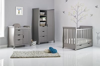STAMFORD MINI COT BED 3 PIECE ROOM SET - TAUPE GREY