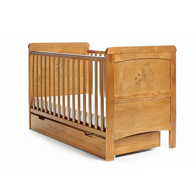 WINNIE THE POOH COT BED & U/DRAWER - COUNTRY PINE (FREE SPRUNG MATTRESS)
