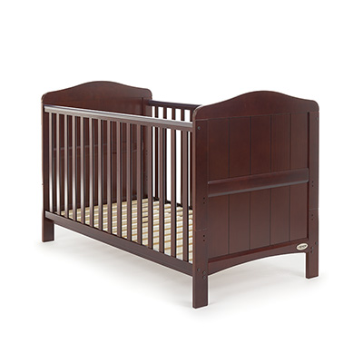 OBABY WHITBY COT BED - WALNUT (FREE FOAM MATTRESS)