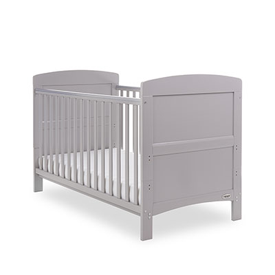GRACE COT BED BUNDLE - WARM GREY, Mattress, Quilt, Bumper & Mobile - White