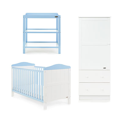 WHITBY 3 PIECE ROOM SET - WHITE with BONBON BLUE