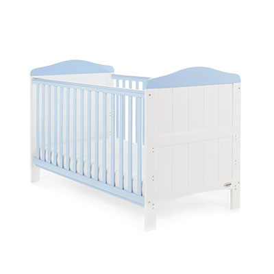 WHITBY COT BED - WHITE with BONBON BLUE