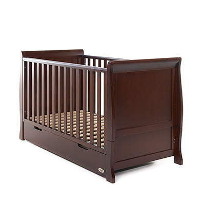 STAMFORD SLEIGH COT BED - WALNUT (FREE SPRUNG MATTRESS)