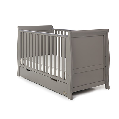 STAMFORD CLASSIC SLEIGH COT BED - TAUPE GREY (FREE POCKET SPRUNG MATTRESS)