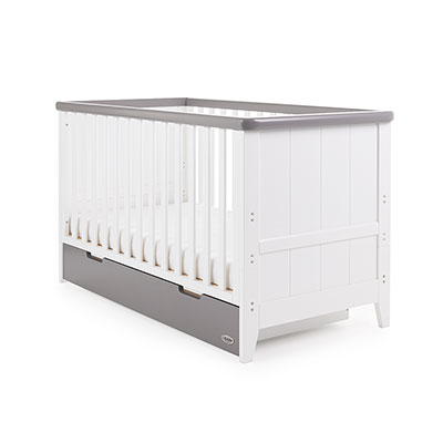 BELTON COT BED - WHITE WITH TAUPE GREY
