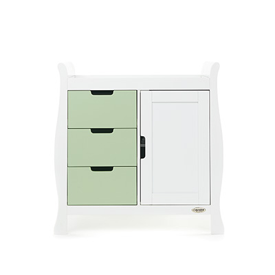 STAMFORD CHANGING UNIT - WHITE with PISTACHIO