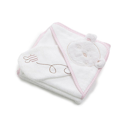B IS FOR BEAR HOODED TOWEL SET - PINK