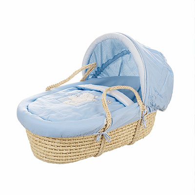 B IS FOR BEAR MOSES BASKET - BLUE