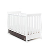 STAMFORD MINI SLEIGH COT BED - WHITE with WALNUT
