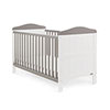 WHITBY COT BED - WHITE with TAUPE GREY (FREE SPRUNG MATTRESS)