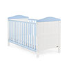 OBABY WHITBY COT BED - WHITE with BONBON BLUE
