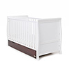 STAMFORD CLASSIC SLEIGH COT BED - WHITE with WALNUT