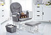 RECLINING GLIDER CHAIR AND STOOL - WHITE WITH GREY CUSHION