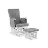 DELUXE RECLINING GLIDER CHAIR AND STOOL - WHITE WITH GREY CUSHION