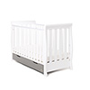 STAMFORD MINI SLEIGH COT BED - WHITE with TAUPE GREY