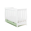 STAMFORD MINI SLEIGH COT BED - WHITE with PISTACHIO