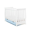 STAMFORD MINI SLEIGH COT BED - WHITE with BONBON BLUE