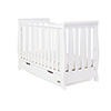 STAMFORD MINI SLEIGH COT BED - WHITE (FREE SPRUNG MATTRESS)