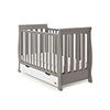 STAMFORD MINI SLEIGH COT BED - TAUPE GREY with WHITE