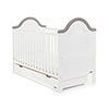 B IS FOR BEAR COT BED AND UNDER DRAWER - WHITE with TAUPE GREY