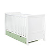 STAMFORD CLASSIC SLEIGH COT BED - WHITE with PISTACHIO