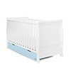 STAMFORD CLASSIC SLEIGH COT BED - WHITE with BONBON BLUE