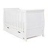 STAMFORD SLEIGH COT BED - WHITE (FREE SPRUNG MATTRESS)