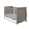 STAMFORD CLASSIC SLEIGH COT BED - TAUPE GREY with WHITE