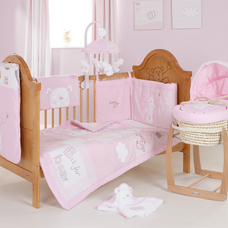b is for bear quilt bumper 2 pc set pink